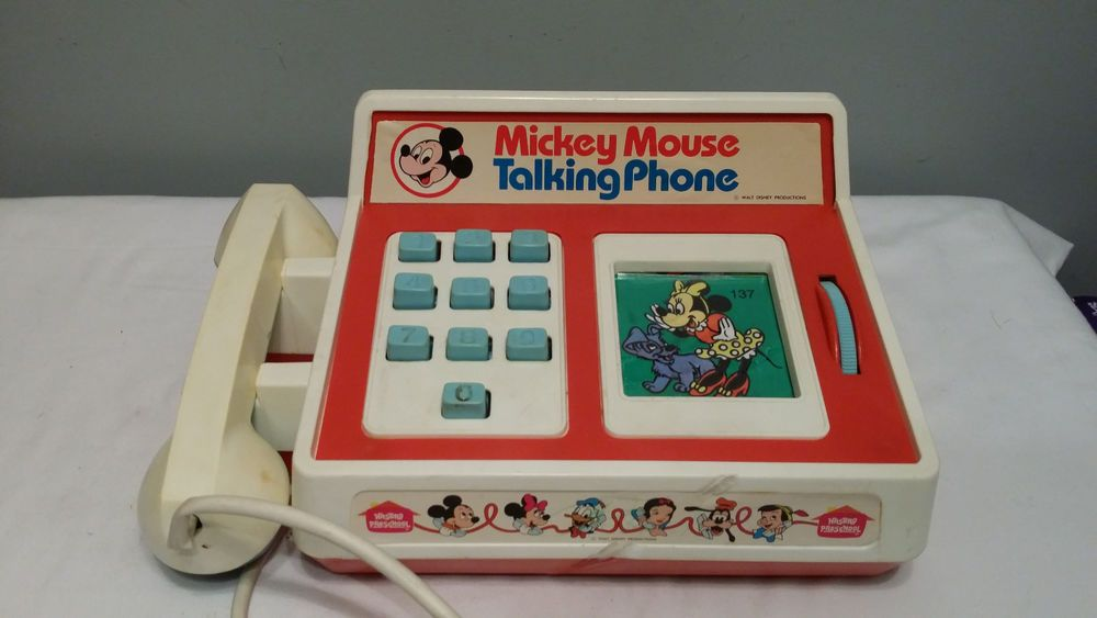 79f70bed8d3f26 Details about 1974 Mickey Mouse Romper Room Talking Telephone Not ...
