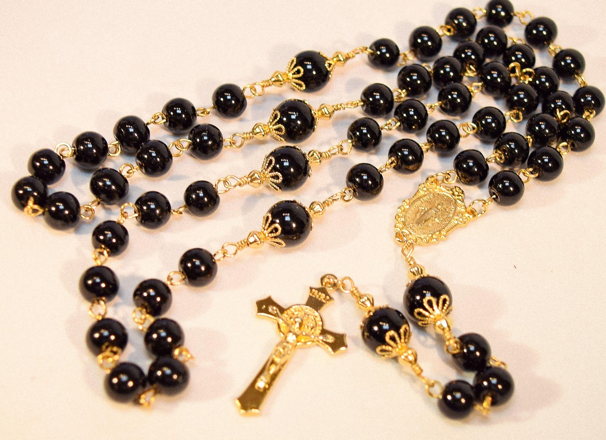 Onyx Rosary with Italian made Crucifix