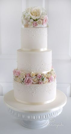 3 Tier Wedding Cake With Edible Lace Sugar Rose Bouquet And Rose