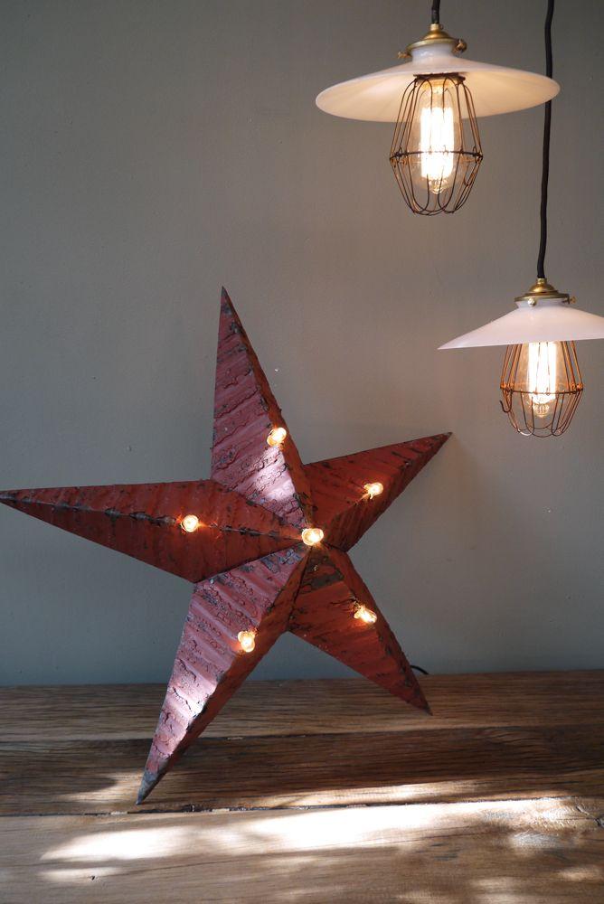 etoile de grange lumineuse Amish zinc rouge grand modele | Etoile, Lumineux, Decoration