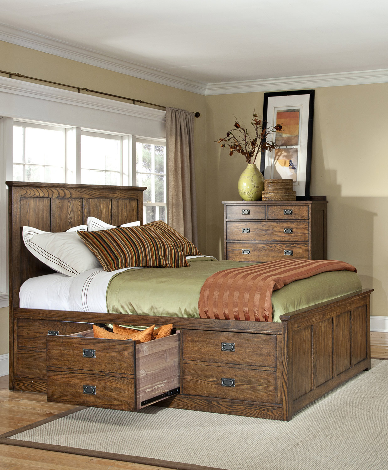California King Panel Bed w/ 3 Drawers Storage Rail
