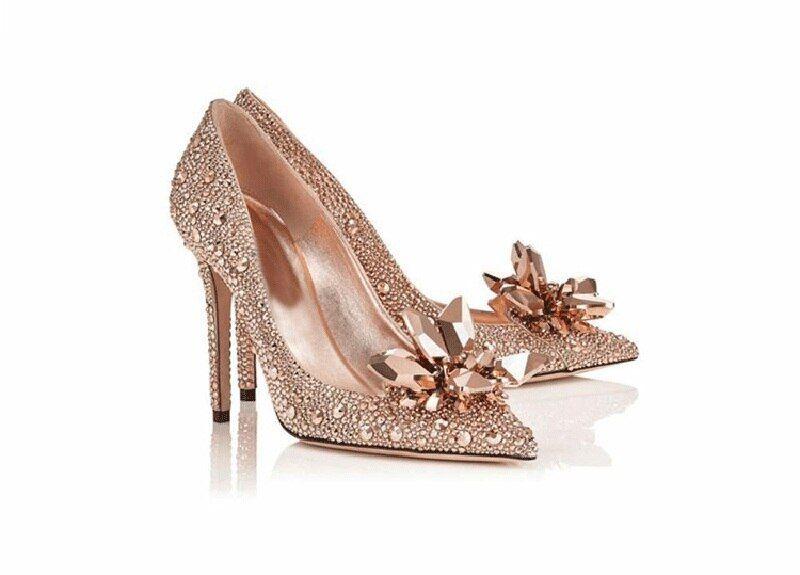 Crystal Wedding Shoes Women Rhinestone High Heels Cinderella Shoes Pointed Toe Pumps