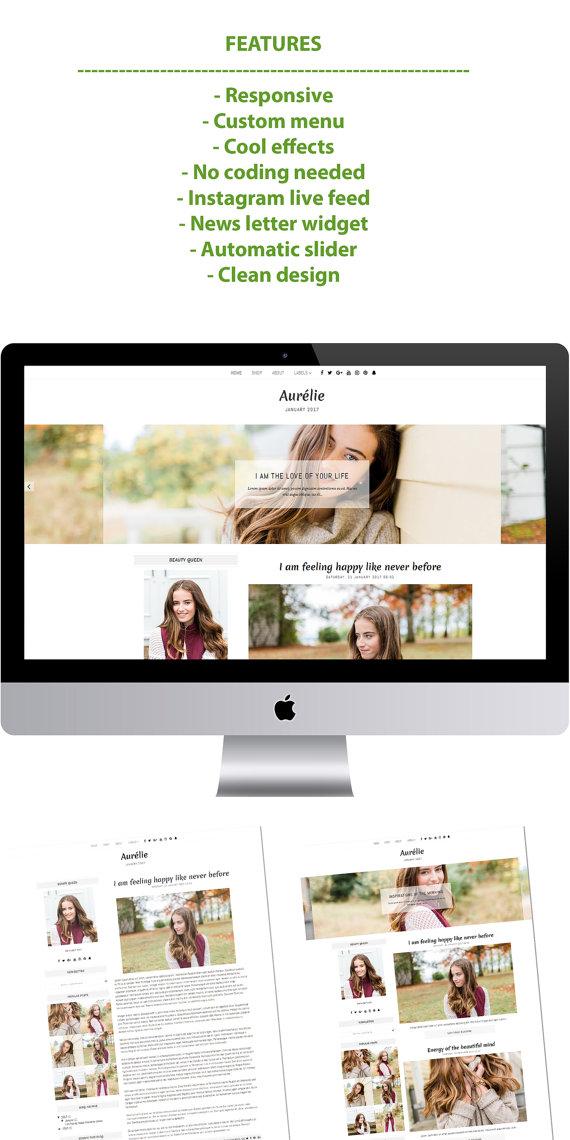 Aurelie - tema de Blogger plantilla mínima Blogger plantilla ...
