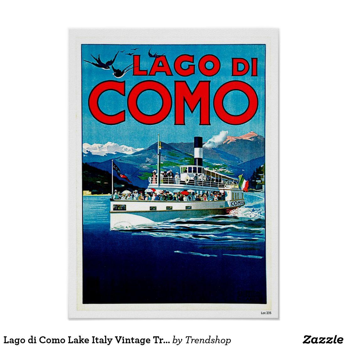 c158ee7fa2c Lago di Como Lake Italy Vintage Travel Poster  LakeComo  Travel  Posters