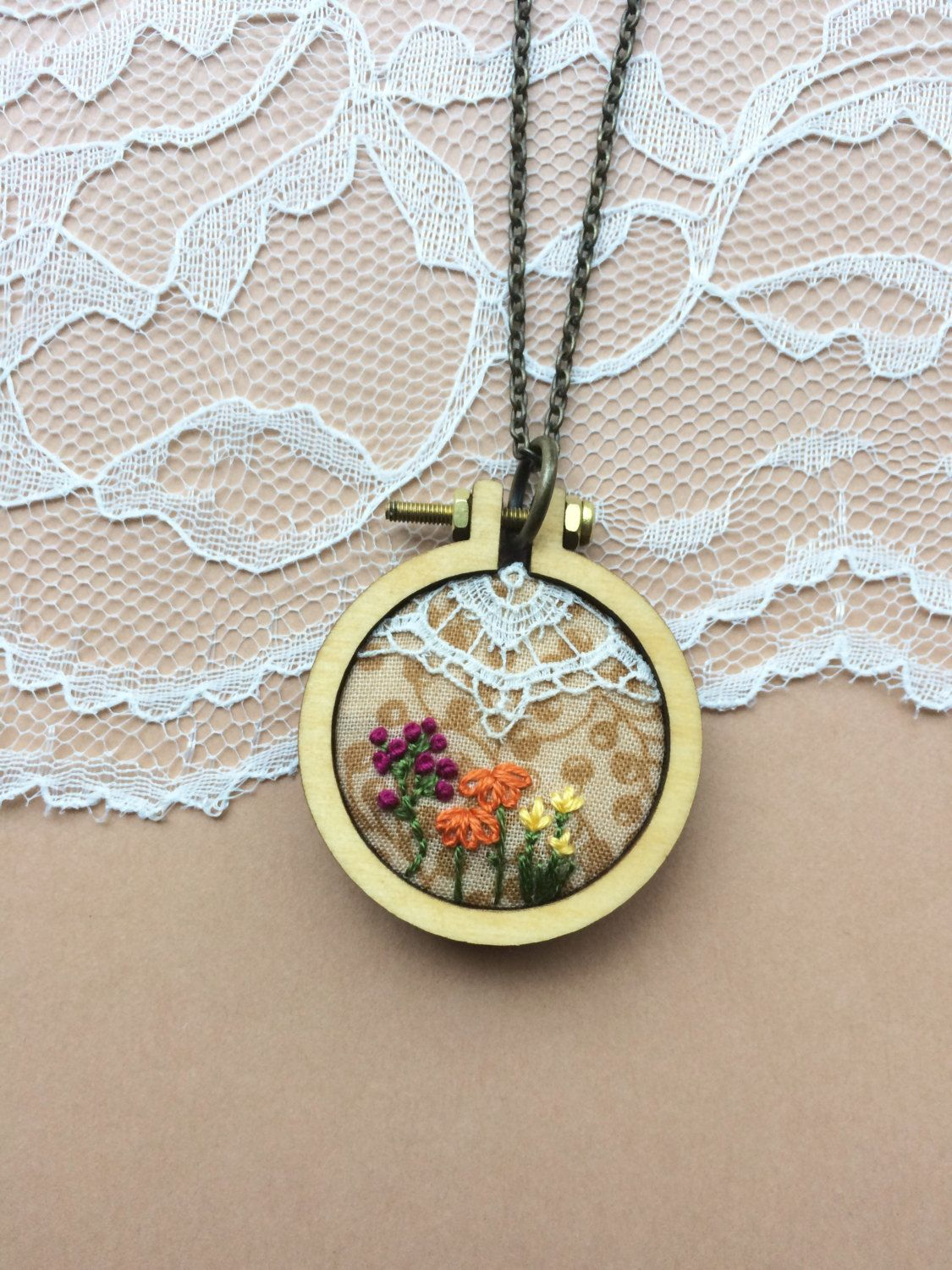 Hand embroidered mini embroidery hoop necklace with