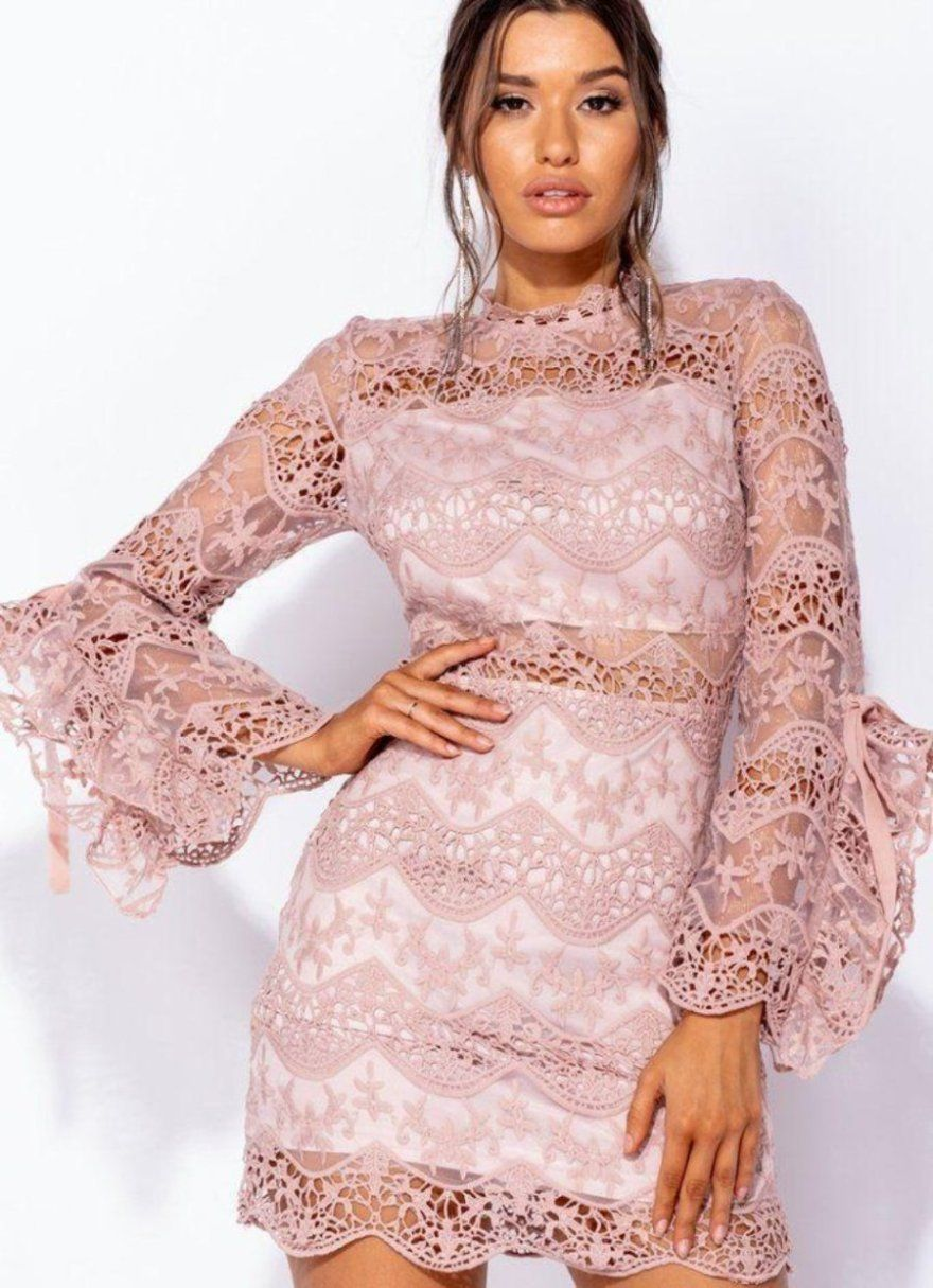 6799f3352ab0 Pink Long Sleeve Lace Dress in 2019   Dresses   Dresses, Lace Dress ...