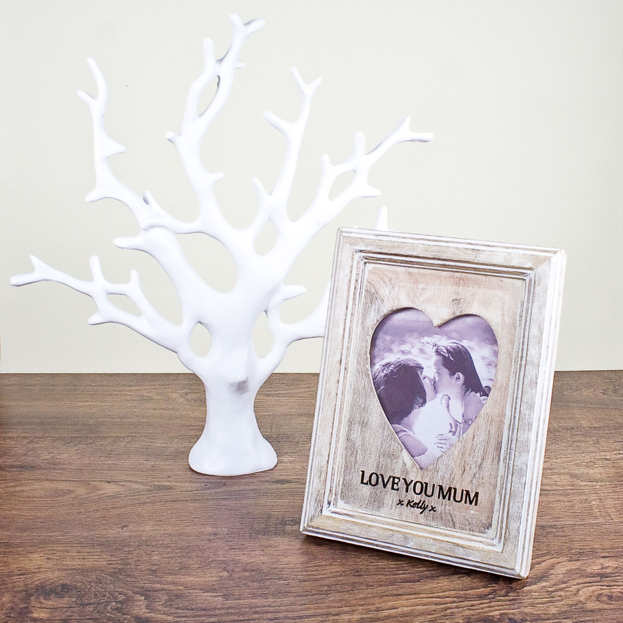 Personalised Heart Photo Frame with White Wood Effect | Gifts For ...