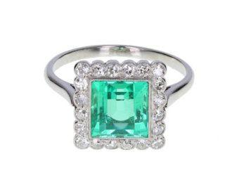 Art-Deco Smaragd Ring Smaragd Antik & Art-Deco von AlistirWoodTait