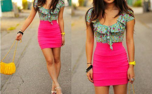 <3. Bright Pink, high waist, yellow accent, floral blouse
