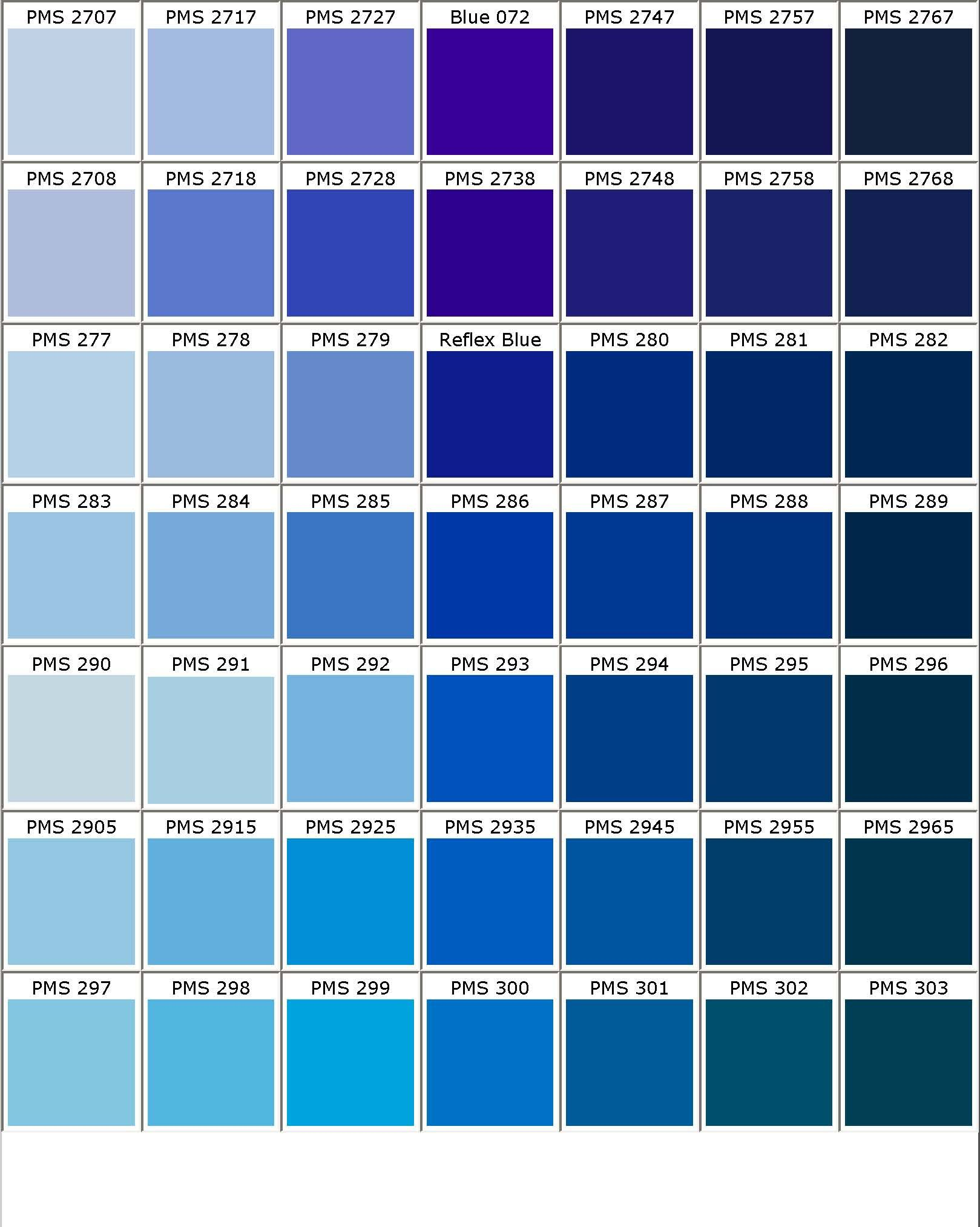Pms 286 Pantone Color Chart Pantone Blue Pantone Color