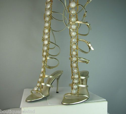 EL DANTES COUTURE GOLD METALLIC STRAPPY TALL SANDALS With CRYSTALS and TASSELS! ~ Outstanding