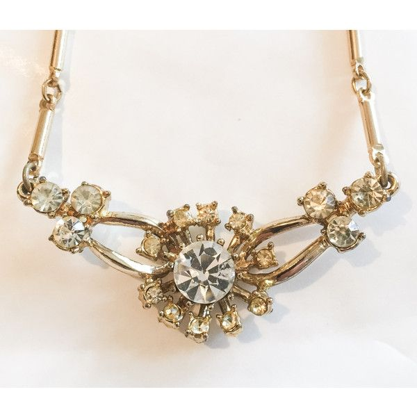 Crystal Glass Floral Necklace, Art Deco Revival Vintage Jewelry,... ($32) ❤ liked on Polyvore featuring jewelry, necklaces, crystal necklace, vintage art deco necklace, vintage glass necklace, crystal jewelry and art deco necklace