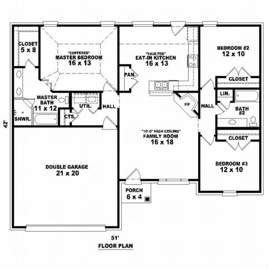 House Plan 053 00381 European Plan 1 452 Square Feet 3 Bedrooms 2 Bathrooms Free House Plans One Level House Plans Bedroom House Plans