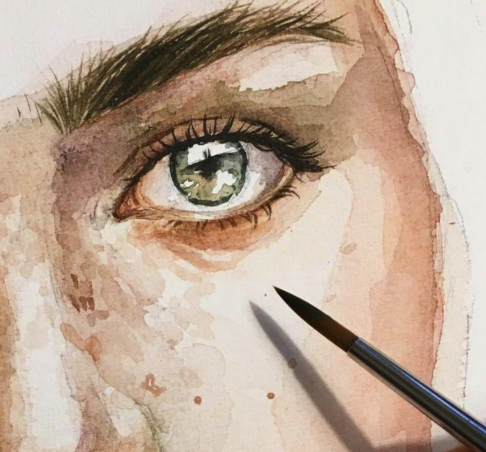 Epingle Par Orama Sur Dessins Portraits Aquarelle Dessin Visage