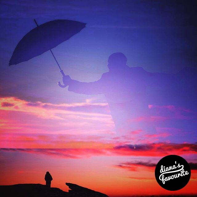 Protected by @granjools ☔ #DianaPhotoApp #TheDianasBlog #doubleexposure #photoapp #sunset #umbrella