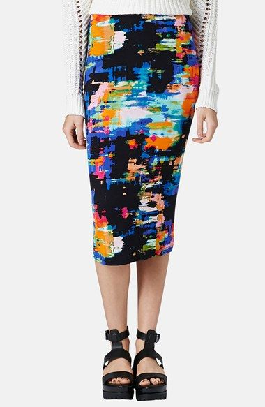 Topshop Print Tube Skirt available at #Nordstrom