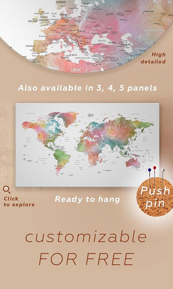 Large watercolor world map push pin canvas detailed world map canvas large watercolor world map push pin canvas detailed world map gumiabroncs Gallery