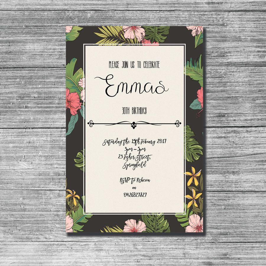 Tropical Birthday invites Tropical Birthday Invitations Tropical