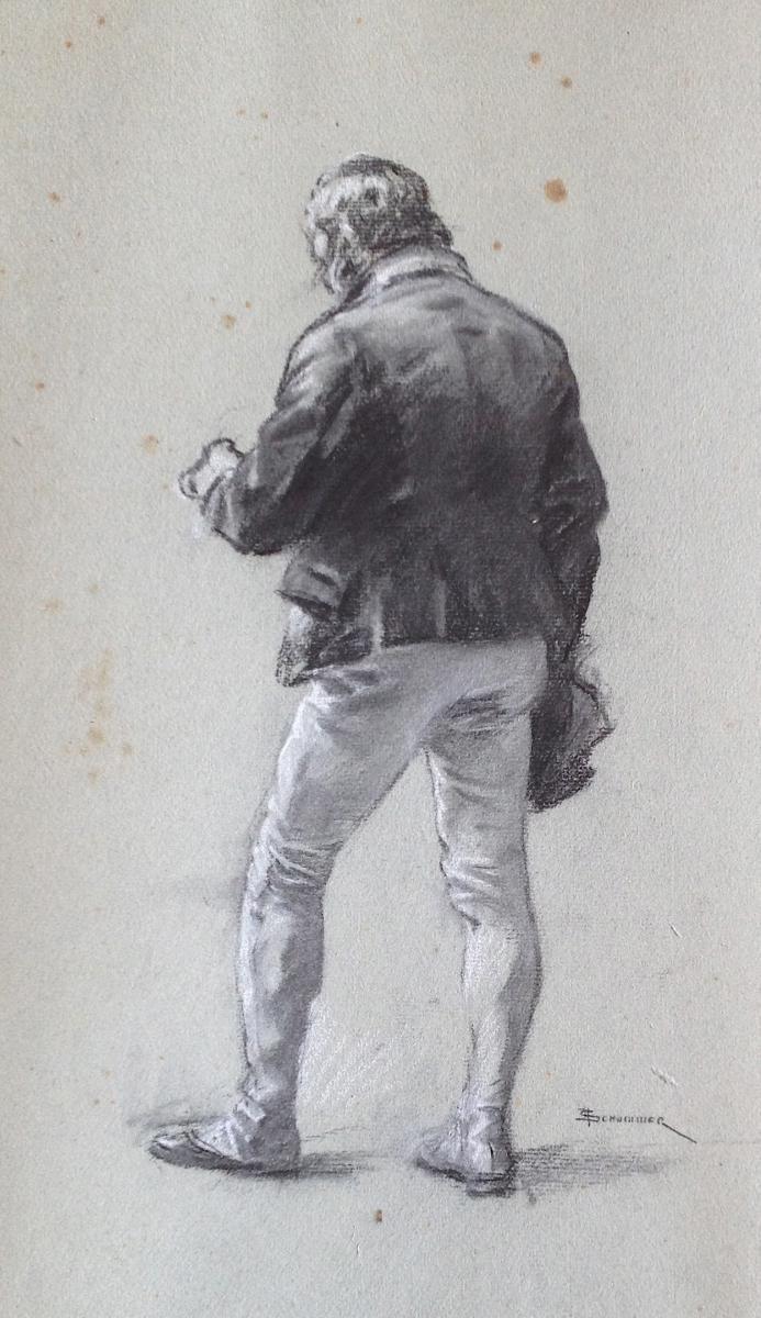 Francois Schommer 1850 1935 Portrait D Homme Vu De Dos