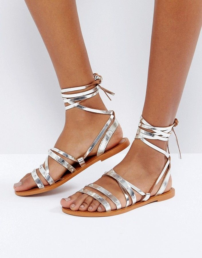 Pull&Bear Metallic Tie Up Leather Sandals