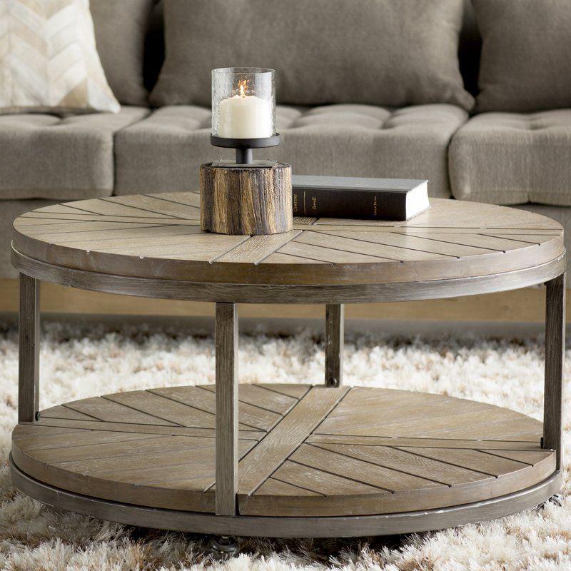 Drossett Wheel Coffee Table With Storage Coffee Table Coffee Table Farmhouse Round Wood Coffee Table
