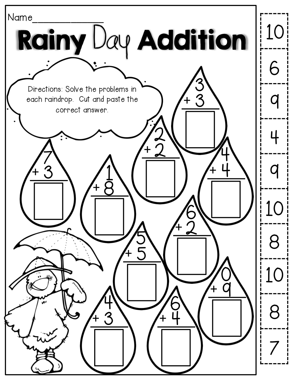 Rainy Day Addition cut and paste – Kindergarten Worksheets Cut and Paste