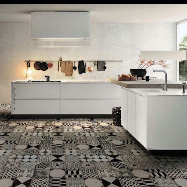 Baldosa Hidraulica Patchwork Tiles Flooring White Kitchen Tiles
