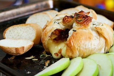 Phyllo-Wrapped Brie and Apricot and Rosemary Chutney