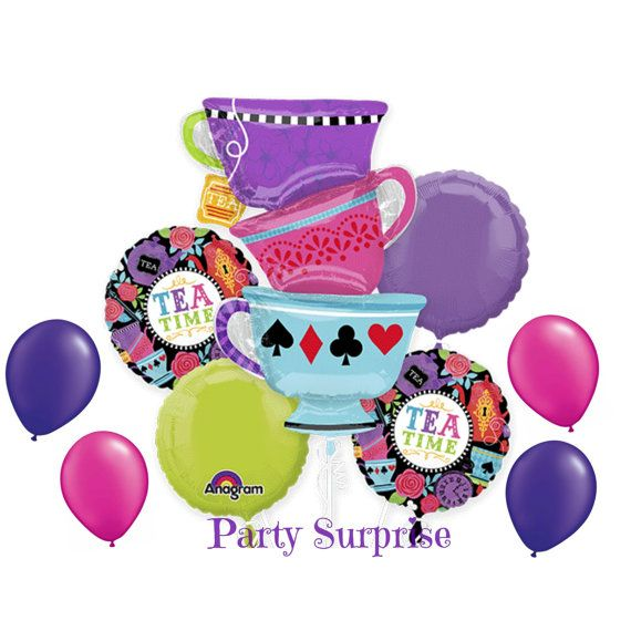 Tea Time Alice Party Balloon Bouquet tea cups by PartySurprise