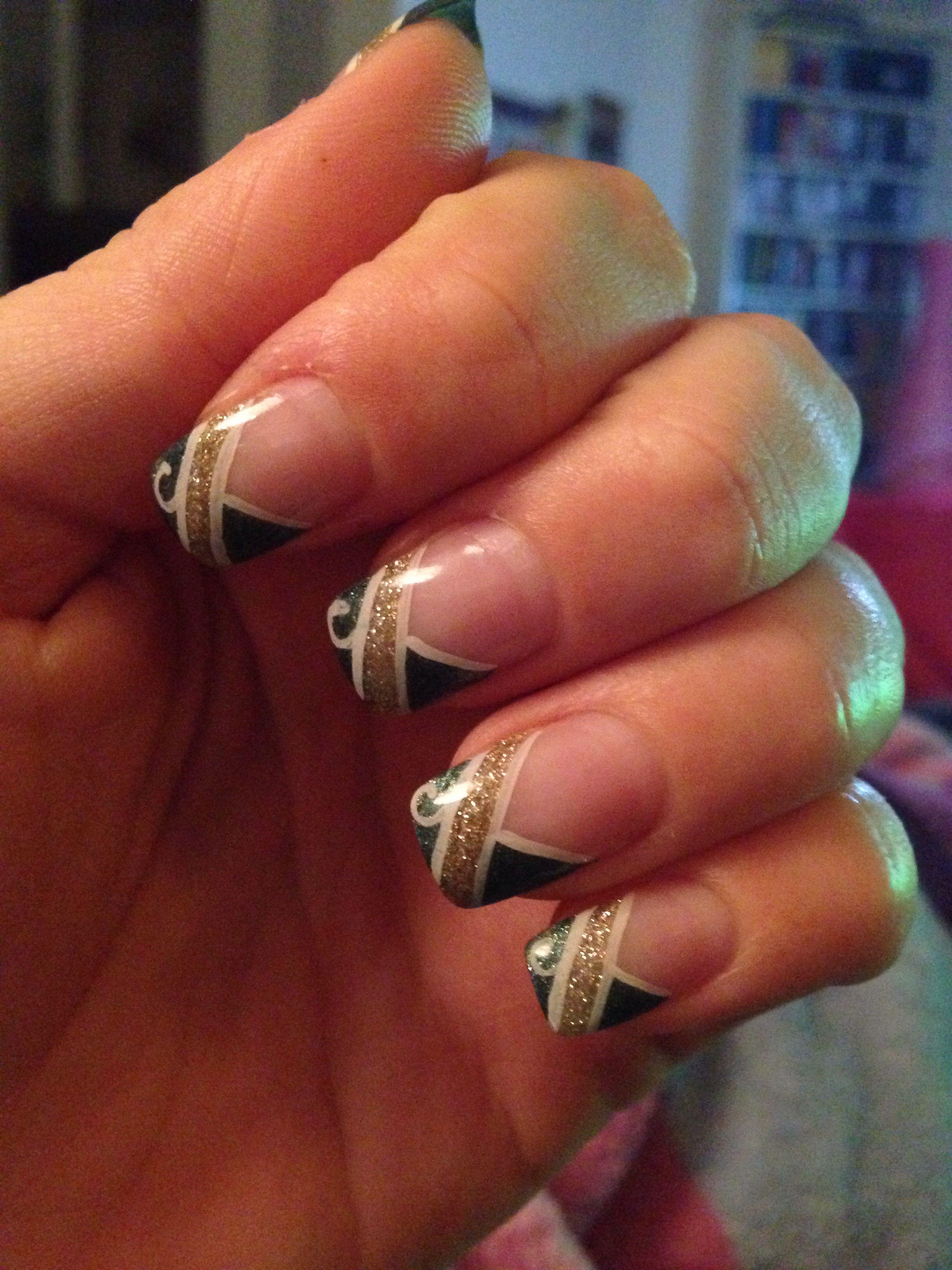 Nageldesign Grun Gold Nails Nagel Nageldesign Grun Nageldesign