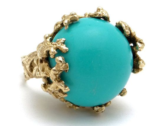 Vintage Large Huge 14k Yellow Gold Sky Blue by AntiqueJewelryLine
