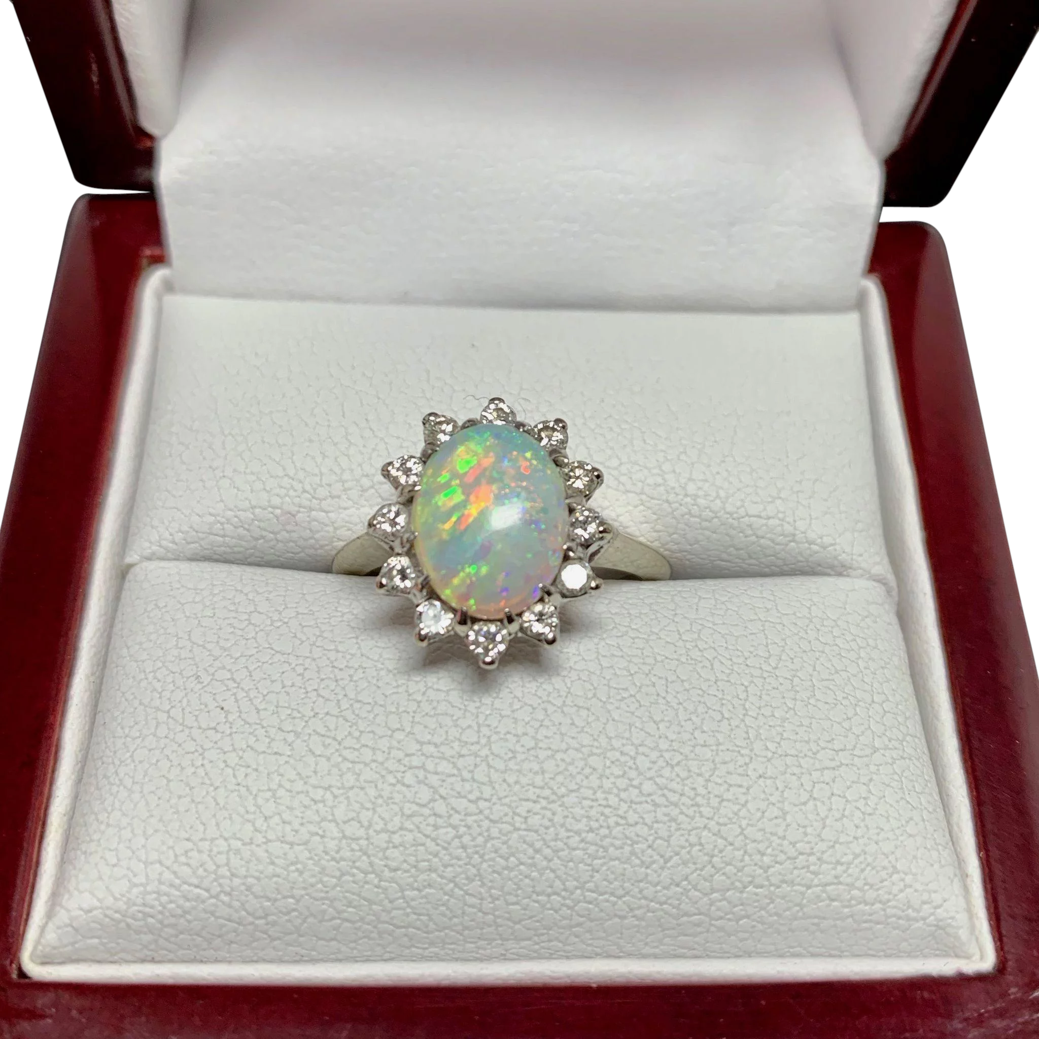 Opal Ring Vintage Opal Ring With Diamond Halo In 10k White Gold Size 6 5 14k White Gold Engagement Rings Topaz Wedding Ring Blue Topaz Wedding