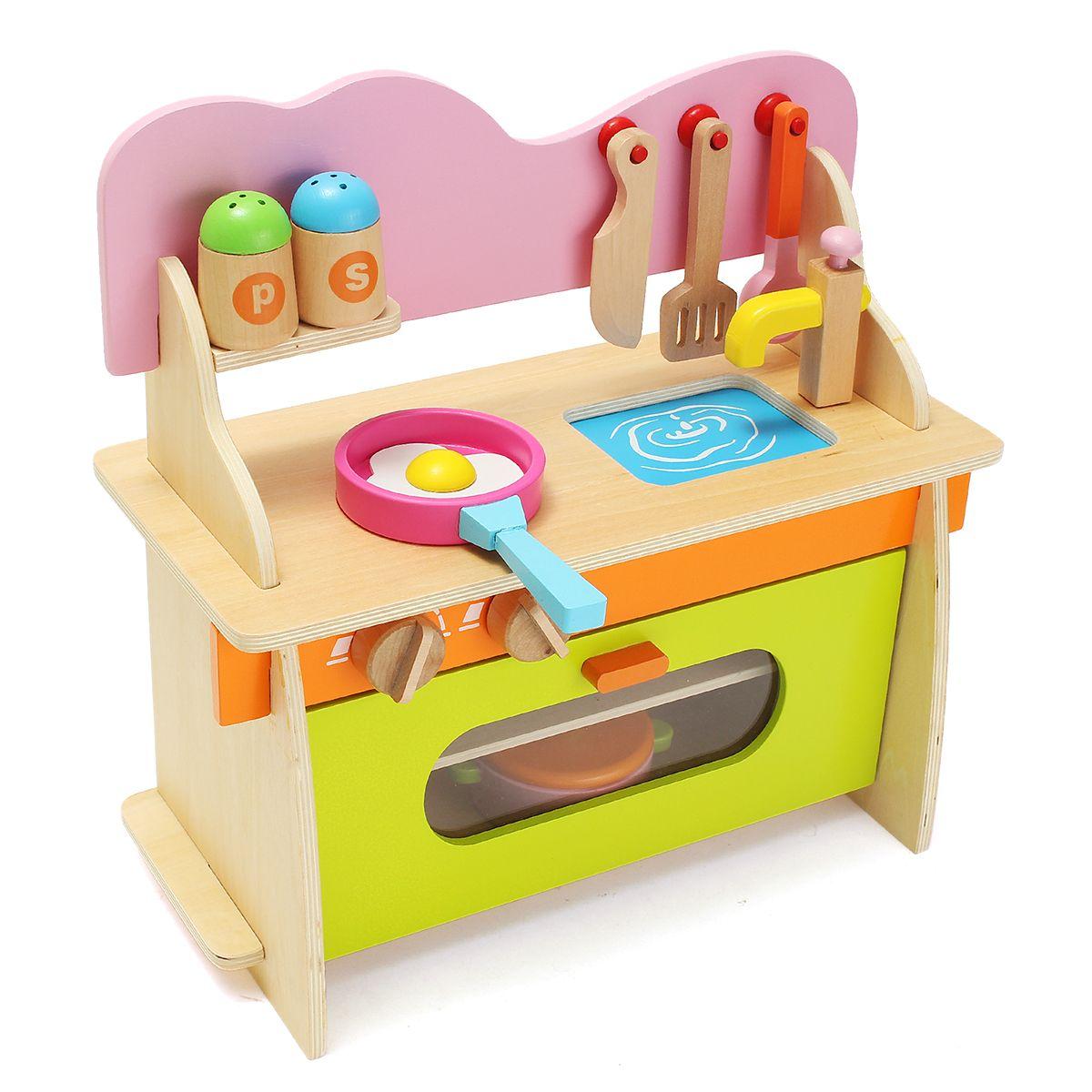Wholesale Price Free Shipping Developmental Toys 36 17 36cm Colorful Kitchen Wooden Wood Pretend Gas Stove Toy Mod Wooden Baby Toys Toy Kitchen Kids Kitchen