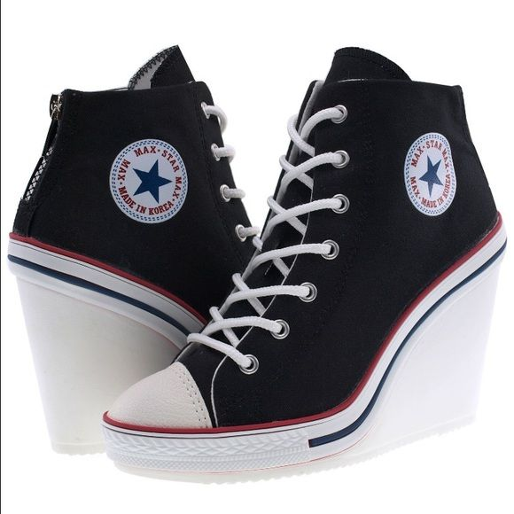 Converse style Wedge Black Canvas Shoes