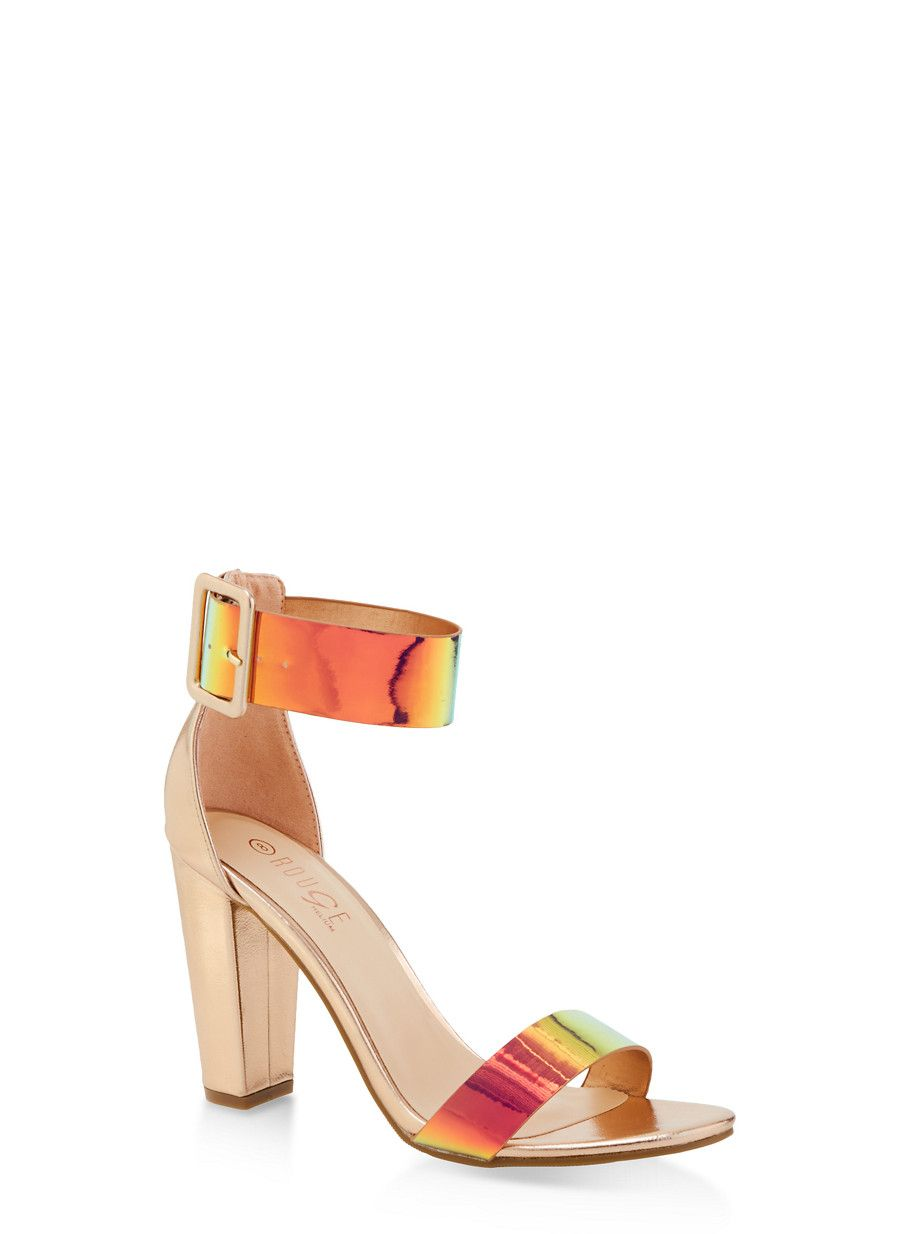 9fb1cb00b23 Iridescent Ankle Strap High Heel Sandals PINK Size 6 Products