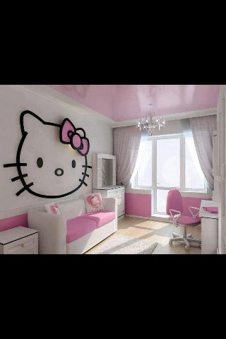 Pink/white Hello Kitty room