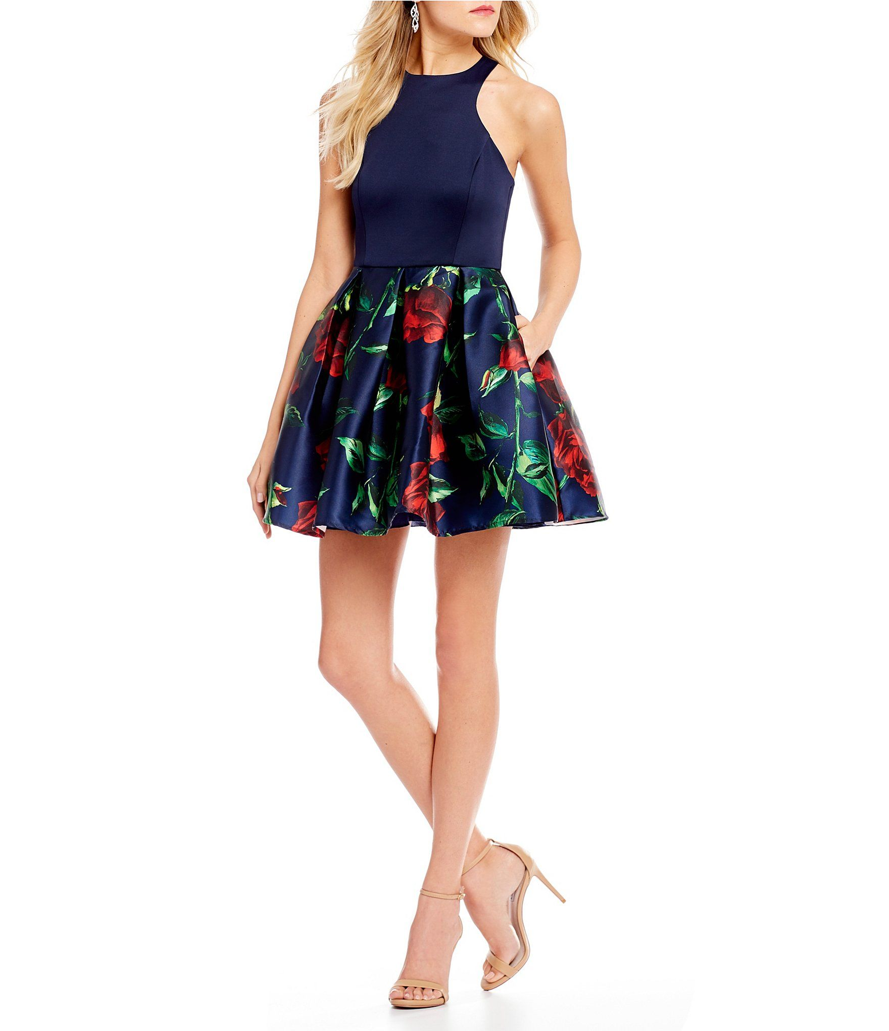 683adca5b4 Shop for Teeze Me Racer Neck Floral Print Skirt Fit-And-Flare Dress at  Dillards.com. Visit Dillards.com to find clothing