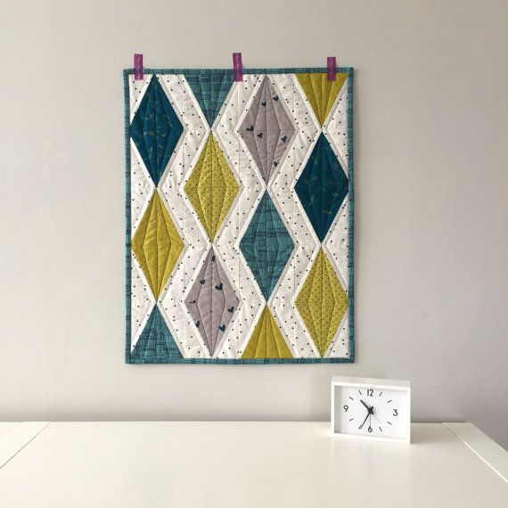 Modern Quilt Wall Hanging Diamond Teal And Chartreuse Mini Wedding Gift Nursery Decor