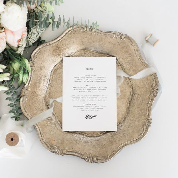 Printable Wedding Menu  Wedding Dinner Menu  Wedding Menu Template