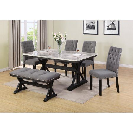 6pc Dining Set With Bench Upholstored Tufted With Nail Head