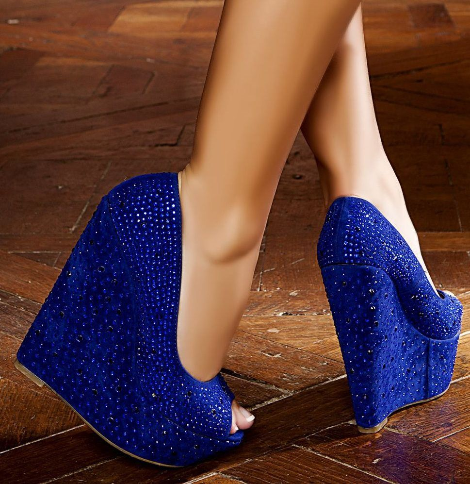 cobalt blue peep toe wedges with sparkle fall style 2012