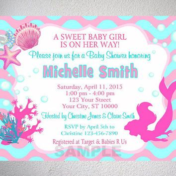 Mermaid Girl Baby Shower Invitation, Printable Little Mermaid - printable baby shower invite