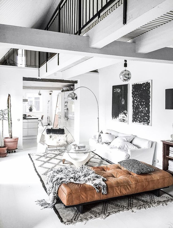 Interior Design 20 Dreamy Loft Apartments That Blew Up Pinterest Modern White Industrial Black And White Living Room White Living Room Minimalism Interior