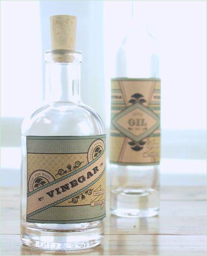 DIY Vintage Style Labels for Oil & Vinegar Bottles and Wooden Boxes