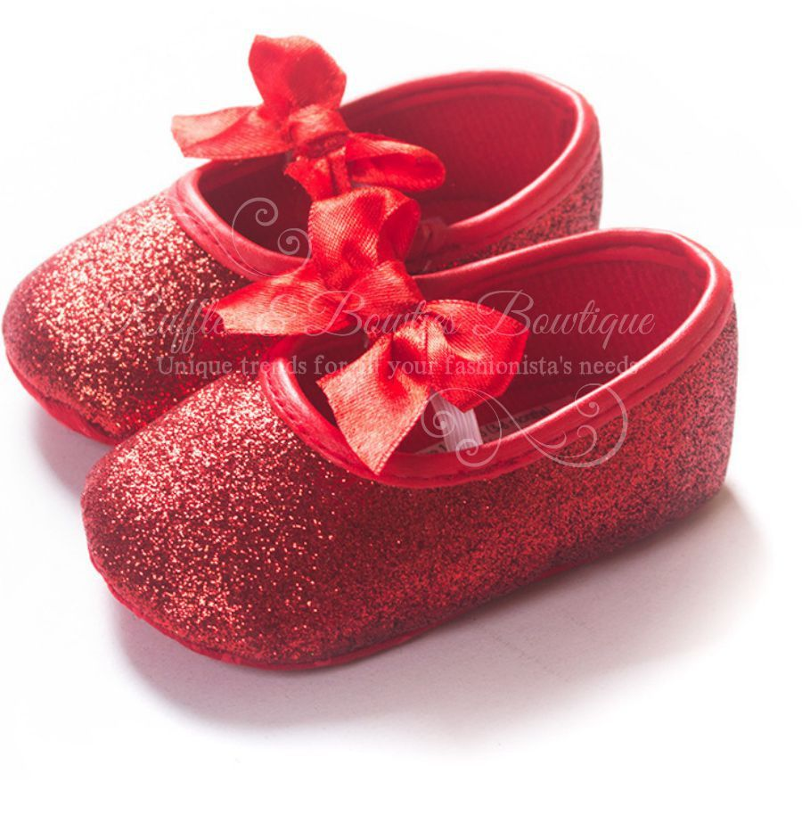 Red Glitter Sparkle Shoes For Your Baby Pre Walkers Red