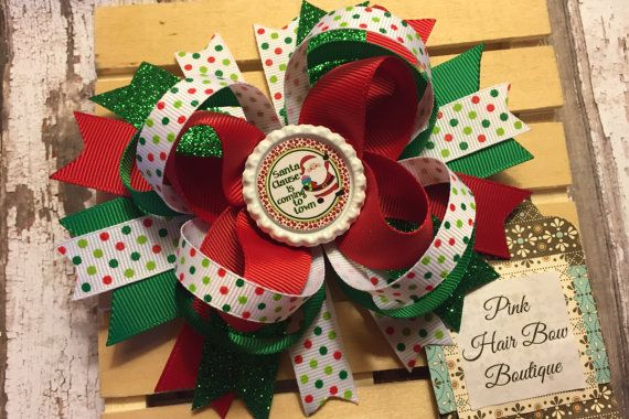 CHRISTMAS XMAS TARTAN GLITTER RIBBON BOUTIQUE HAIR BOW BOWS CLIP GRIP SLIDE