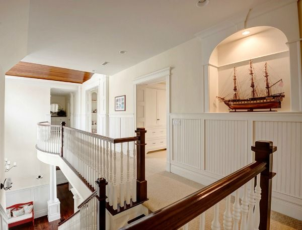 Upstairs Foyer Ideas : A blue white lake house in wisconsin geneva upstairs