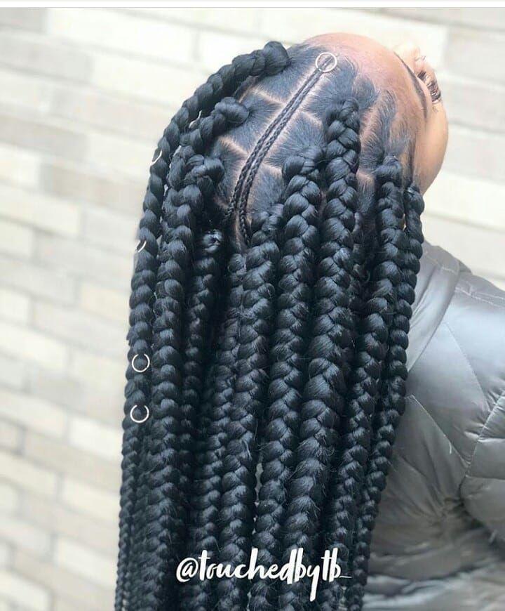 "Ghanaian hairstyles on Instagram: ""Jumbo box braids @touchedbytb_ ???? #jumboboxbraids  #boxbraids . . . #follow @ghanaianhairstyles @touchedbytb_  #jumboboxbraids #boxbraids…"" #longboxbraids"