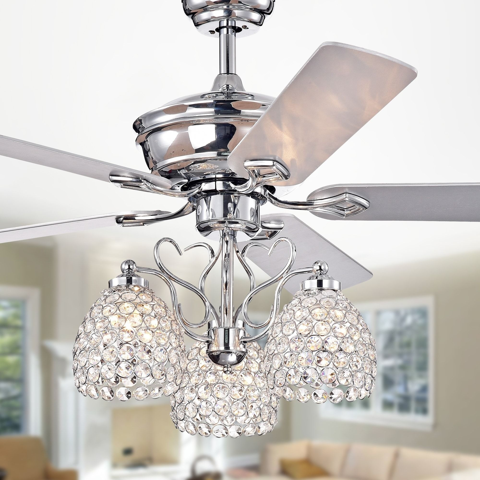 Boffen 52 Inch 3 Light Lighted Ceiling Fan With Crystal Cup Shades