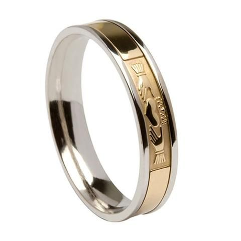 This Striking Two Tone Silver And Gold Irish Wedding Ring Features A Beautiful Claddagh Symbol The Claddagh Irish Wedding Rings Celtic Wedding Rings Claddagh